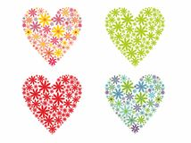 Valentines Day flowered hearts Stock Photo