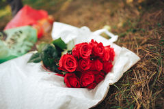 Valentines day . flowers , rings and wedding decor. romantic din. Ner outdoors Royalty Free Stock Photography