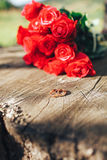 Valentines day . flowers , rings and wedding decor. romantic din. Ner outdoors Royalty Free Stock Photos