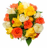 Valentines day flowers with white, orange, red and yellow roses flowers. Stock Photos