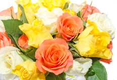 Valentines day flowers with white, orange, red and yellow roses flowers. Royalty Free Stock Image