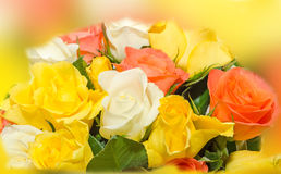 Valentines day flowers with white, orange, red and yellow roses flowers. Stock Image