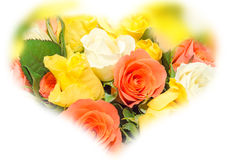 Valentines day flowers with white, orange, red and yellow roses flowers. Royalty Free Stock Photography