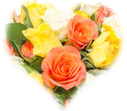 Valentines day flowers with white, orange, red and yellow roses flowers. Royalty Free Stock Photos