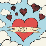 Valentines day. Flying heart. Stock Image