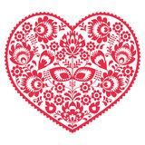 Valentines Day folk art red heart - Polish pattern Wzory Lowickie, Wycinanki stock illustration