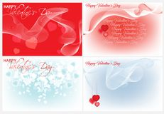 Valentines day. Four festive backgrounds for Valentine`s day Stock Image