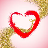 Valentines Day frame with ink brush painted heart and sparkles golden glitter Royalty Free Stock Photos