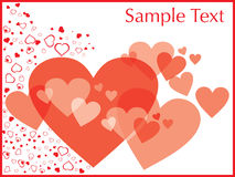 Valentines day frame with many hearts,  Royalty Free Stock Photos