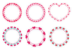 Valentines day frame set. Cute round border with space for text. Isolated on white. Background. Vector illustration Royalty Free Stock Photo
