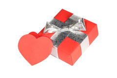 Valentines Day gift. In red box with card isolated on white Royalty Free Stock Photo