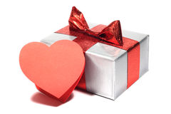Valentines Day gift. In silver box with greeting card isolated on white Stock Photo