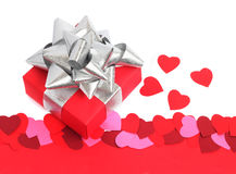 Valentines Day gift. Valentines day background with gift and copy space Royalty Free Stock Images