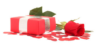 Valentines Day gift. In red box with rose and small hearts isolated on white Stock Photography
