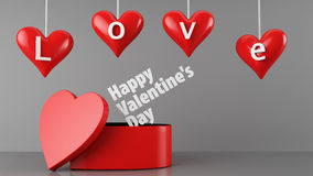 Valentines Day Gift. 3d Render Of love and Valentines Day Box Stock Photography