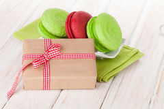 Valentines day gift box and colorful macarons Royalty Free Stock Image