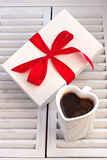 Valentines Day gift box with curved ribbon Stock Image