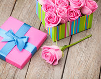 Valentines day gift box full of pink roses Royalty Free Stock Photography