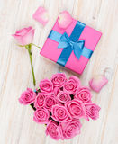 Valentines day with gift box full of pink roses Stock Images