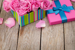 Valentines day with gift box full of pink roses Royalty Free Stock Image
