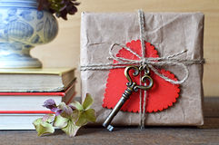 Valentines Day gift box with heart and key Royalty Free Stock Photography