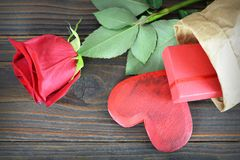 Valentines Day gift box, heart and rose. Valentines Day gift box, heart and red rose Royalty Free Stock Image