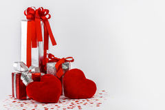 Valentines Day and gift box and Heart Shape pillows Royalty Free Stock Photo