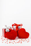 Valentines Day and gift box and Heart Shape pillows Royalty Free Stock Image
