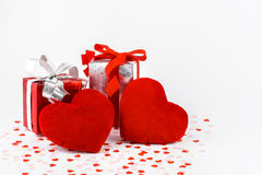 Valentines Day and gift box and Heart Shape pillows Royalty Free Stock Images