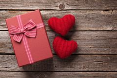 Valentines day gift box and hearts royalty free stock image