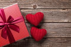 Valentines day gift box and hearts royalty free stock images