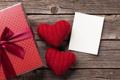 Valentines day gift box and hearts royalty free stock photo