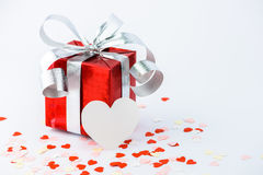 Valentines Day and gift box and Paper Heart Shape. On white background Royalty Free Stock Photos