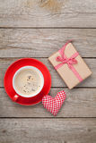 Valentines day gift box, toy heart and coffee cup Royalty Free Stock Photo