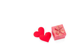 Valentines day gift boxes, rose and paper hearts isolated Stock Photos