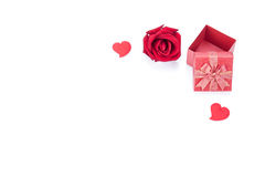 Valentines day gift boxes, rose and paper hearts isolated Stock Photo