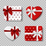 Valentines day gift boxes. Top view. Isolated. 3d realistic icons. With shadow Stock Images