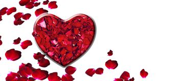 Valentines day gift card background, rose petals in heart royalty free stock images
