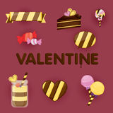 Valentines day gift card design.valentines stuff. Royalty Free Stock Images