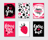 Valentines day gift card vector set. Hand drawn printable templates with lettering, texture, love quotes. Royalty Free Stock Photo