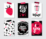 Valentines day gift card vector set. Hand drawn printable templates with lettering, texture, love quotes. Stock Photography