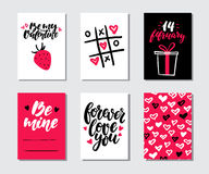 Valentines day gift card vector set. Hand drawn printable templates with lettering, texture, love quotes. Modern style black, white, pink holiday label. Cute Royalty Free Stock Photo