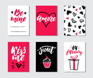 Valentines day gift card vector set. Hand drawn printable templates with lettering, texture, love quotes. Modern style black, white, pink holiday label. Cute Royalty Free Stock Photos