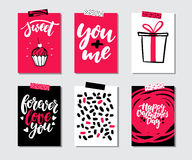 Valentines day gift card vector set. Hand drawn printable templates with lettering, texture, love quotes. Modern style black, white, pink holiday label. Cute Royalty Free Stock Image