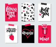 Valentines day gift card vector set. Hand drawn printable templates with lettering, texture, love quotes. Modern style black, white, pink holiday label. Cute Royalty Free Stock Images