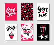 Valentines day gift card vector set. Hand drawn printable templates with lettering, texture, love quotes. Modern style black, white, pink holiday label. Cute Stock Photography