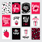 Valentines day gift card vector set. Hand drawn printable templates with lettering. Texture, love quotes. Modern style black, white, pink holiday label. Cute Royalty Free Stock Images