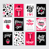 Valentines day gift card vector set. Hand drawn printable templates with lettering, texture, love quotes. Modern style black, white, pink holiday label. Cute Stock Images