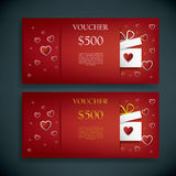 Valentines day gift card voucher template with traditional background, present and space for your text. Eps10 vector illustration Vector Illustration