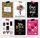 Valentines day gift cards. Calligraphy and hand drawn design. stock illustration